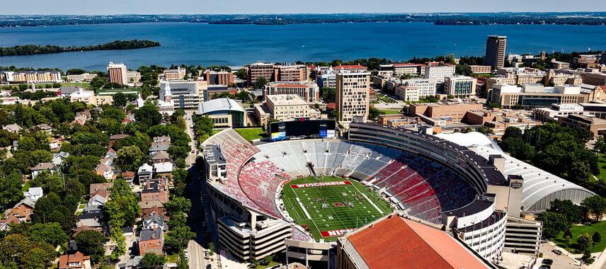 Aerial view football stadium